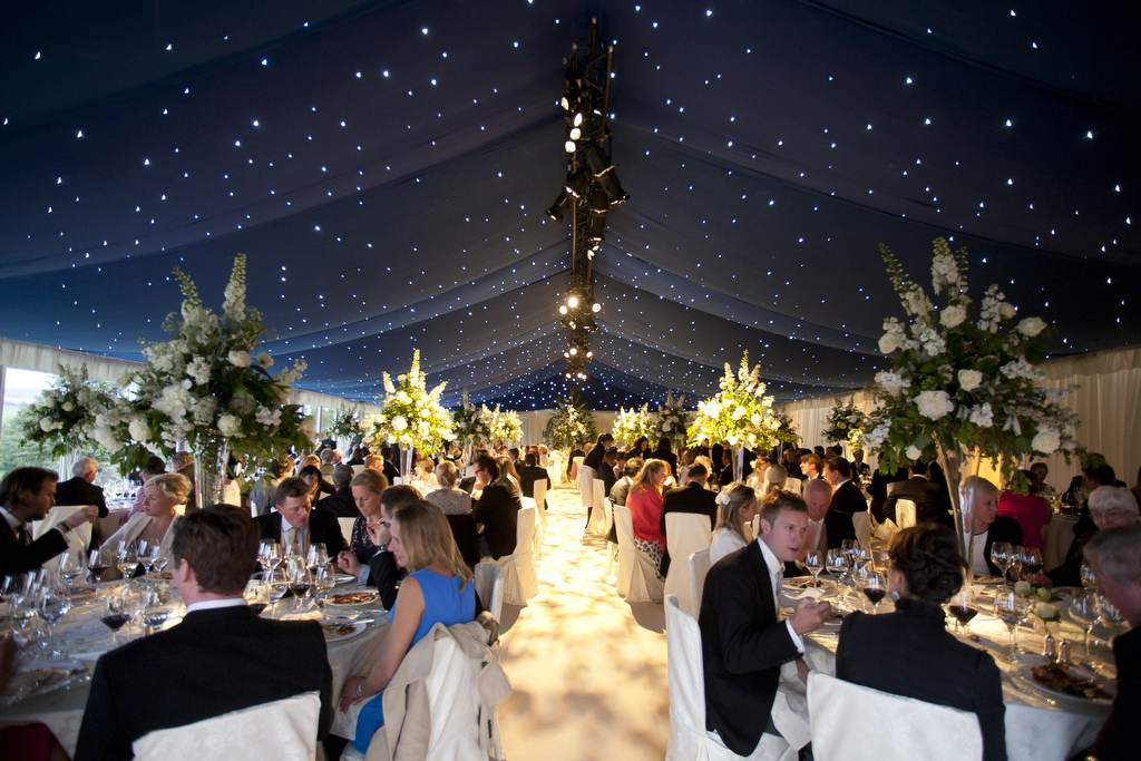 Wedding Hire - Blue Starcloth with cream carpet