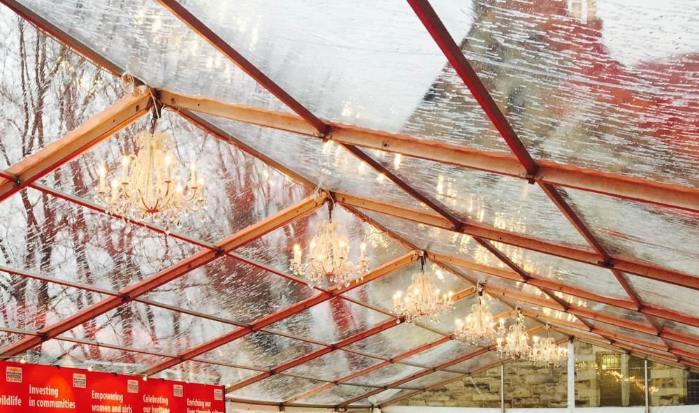 Clear Roof - Charity Reception in clear roofed 9m