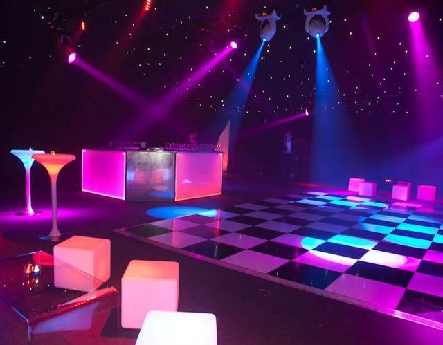 Dancefloor - Chequerboard Dancefloor with illuminated bar furniture