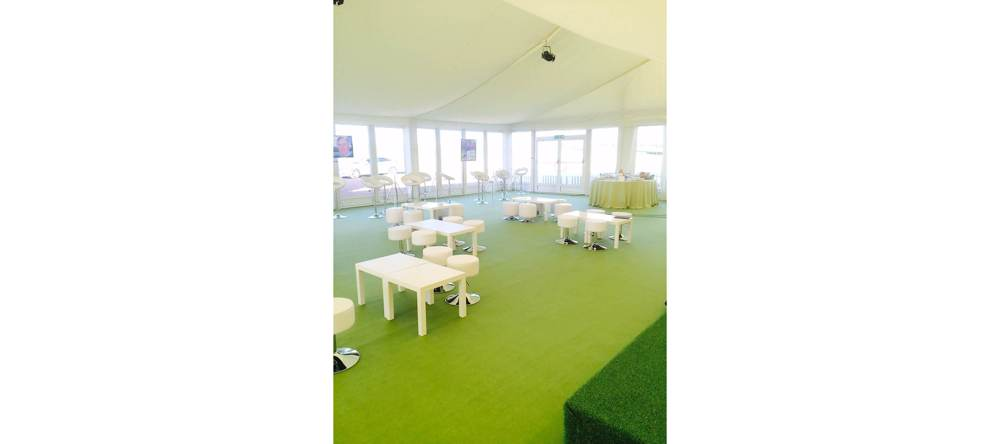 Furniture - Light Green Carpet with Astroturfed Stage