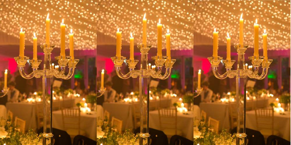 Lighting - 5-arm glass candelabra