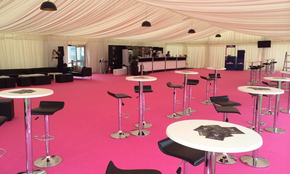 Linings - Pink carpet and bespoke Bar furniture