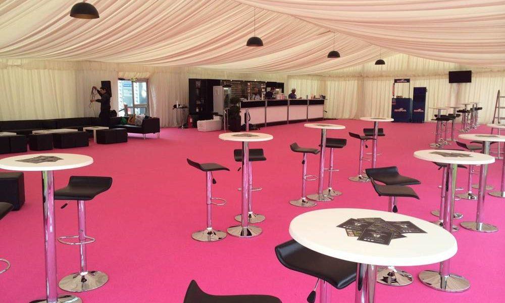Linings - Pink carpet and bespoke Bar furniture