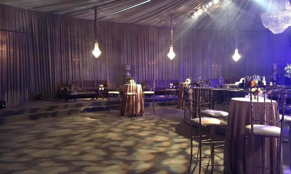 Linings - Raised oval flooring with lighting projections