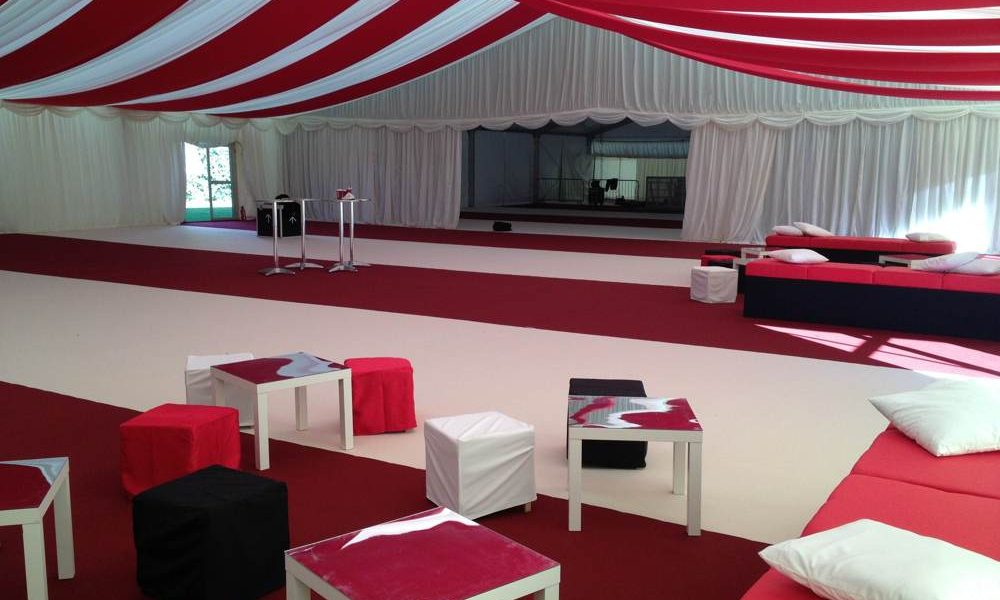 Linings - Red and White Striped roof and carpet