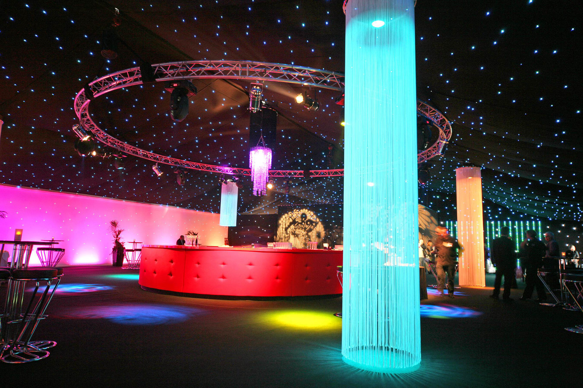 Private Hire - Circular Bar with fringe lighting columns
