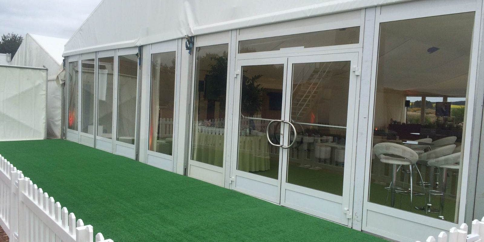 Sporting Hire - Astro turf patio with Premium Doors