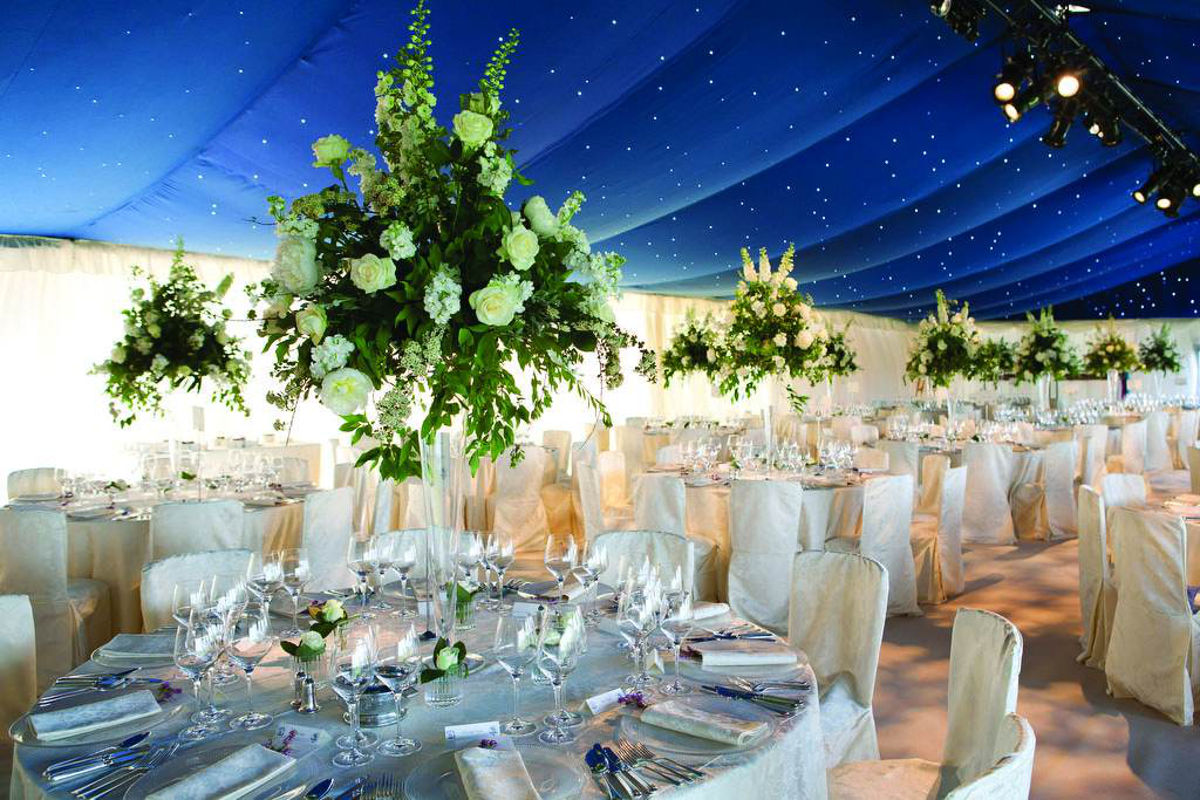 Wedding Hire - Blue Starcloth with covered banqueting chairs