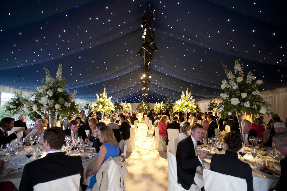 Wedding Hire Blue Starcloth With Cream Carpet