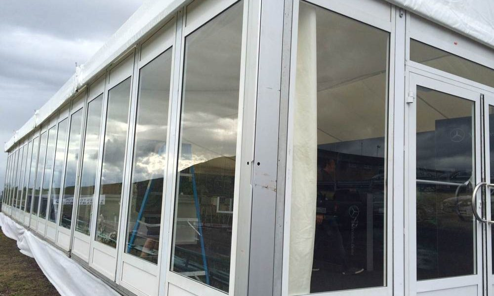 Windows - Glass Panels in 15m wide structure with premium door