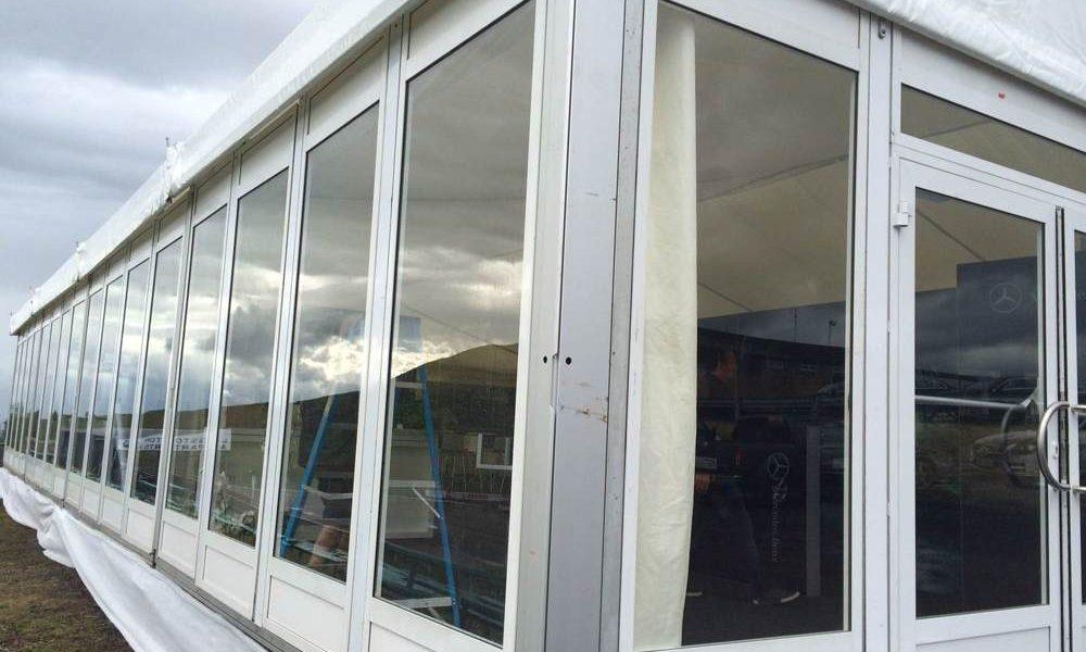 Windows - Glass Panels in 15m wide structure with premium door